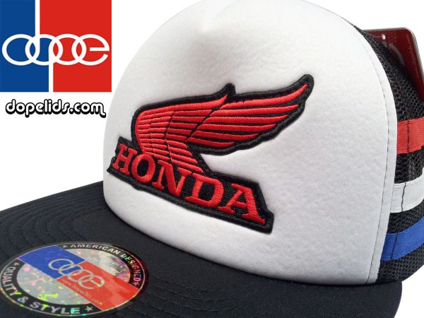 smartpatches Honda Vintage Style Motorcycle Trucker Hat (Red/White/Blue Stripes)