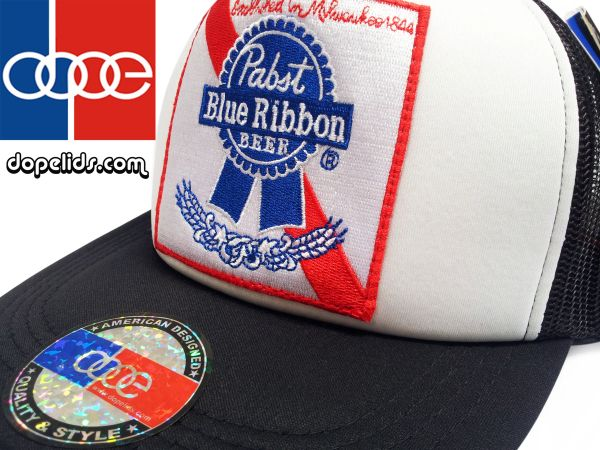 smartpatches Pabst Blue Ribbon Vintage Style Trucker Hat (Black/White)