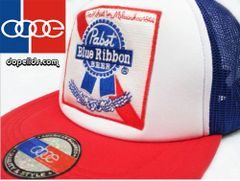 smartpatches Pabst Blue Ribbon Vintage Style Trucker Hat (Red, White and Blue)