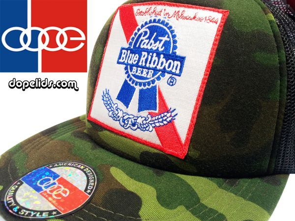 smartpatches Pabst Blue Ribbon Vintage Style Trucker Hat (Camo)