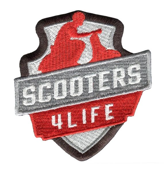 "Vintage Style ""Scooters 4 Life"" Vespa Scooter Patch 8cm"