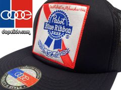 smartpatches Pabst Blue Ribbon PBR Vintage Style Trucker Hat (Solid Black)