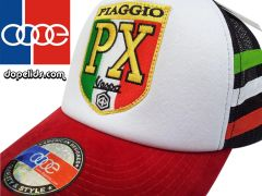 """smartpatches """"Vespa PX"""" Vintage Style Scooter Trucker Hat (Italian Stripes)"""