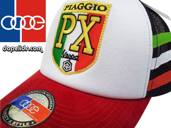 "smartpatches ""Vespa PX"" Vintage Style Scooter Trucker Hat (Italian Stripes)"