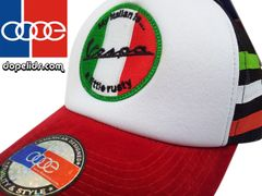 "smartpatches ""Vespa"" Vintage Style Scooter Trucker Hat (Italian Stripes)"
