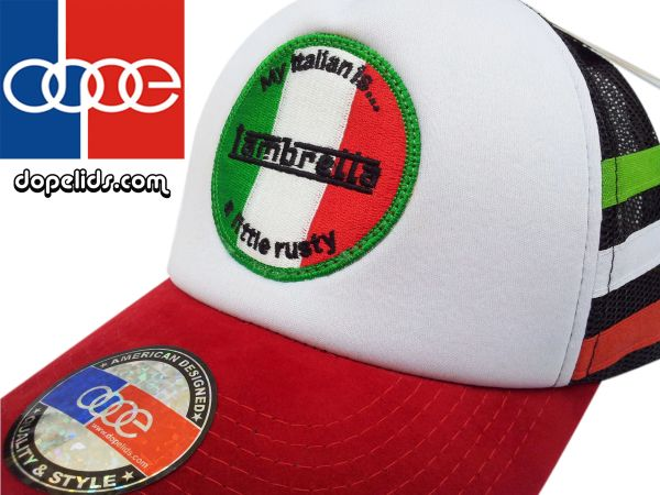 "smartpatches ""Lambretta"" Vintage Style Scooter Trucker Hat (Italian Stripes)"