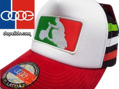 "smartpatches ""Italian Scooter"" Vintage Style Vespa Trucker Hat (Italian Stripes)"