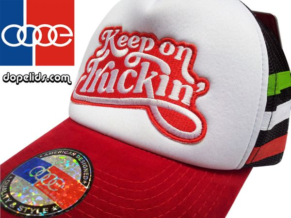 smartpatches Keep on Truckin' Script Vintage Style 70's Trucker Hat (Italian Stripes)