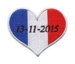 French Memorial Heart Paris Terror Attacks 13-11-2015 (Iron-On)
