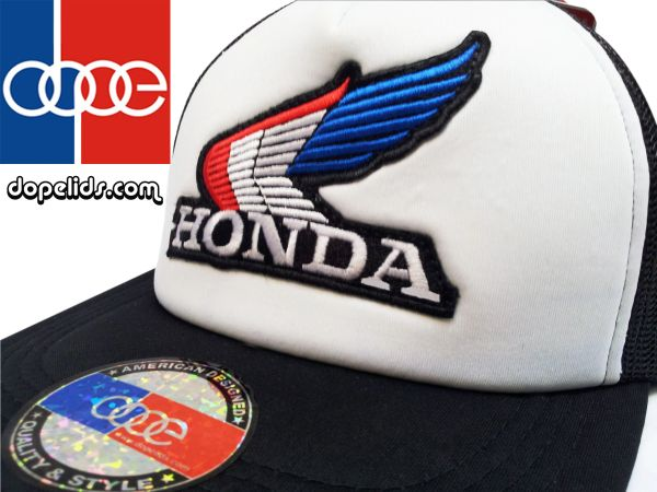 smartpatches Honda Vintage Wing Style Motorcycle Trucker Hat (B/W Hat R/W/B Wing)