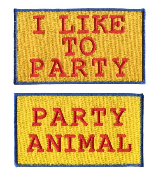 "Vintage Style ""I Like To Party"" ""Party Animal"" Patch 13cm"