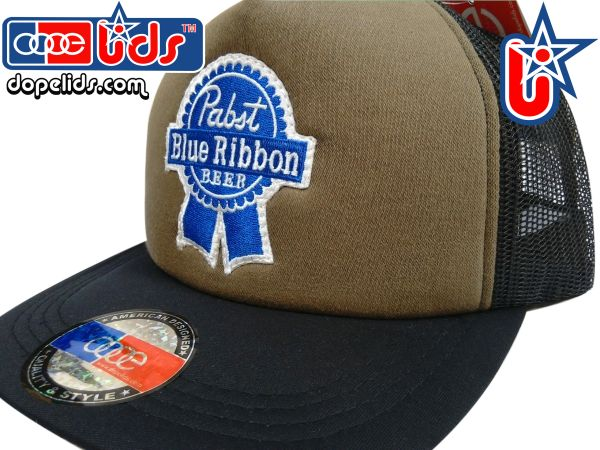 smart-patches Pabst Blue Ribbon Vintage Style Trucker Hat (OD Green)