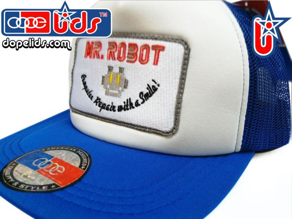 smart-patches Mr. Robot Trucker Hat (Blue/White)