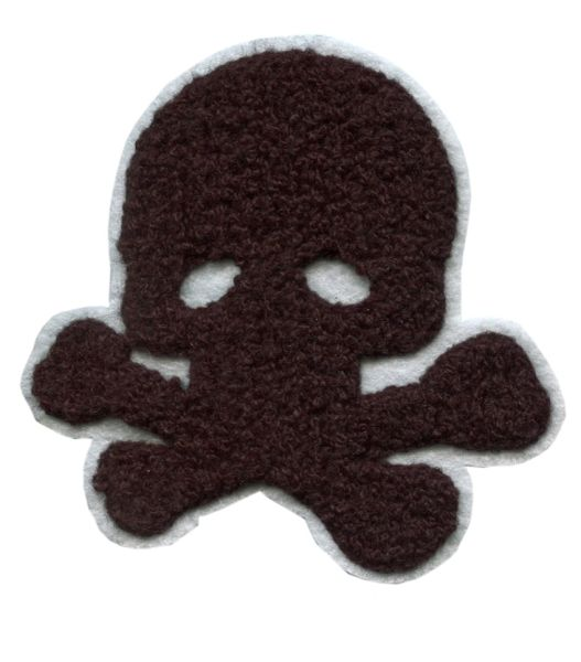 Large Chenille Black Skull Patch (10cm x 10cm)