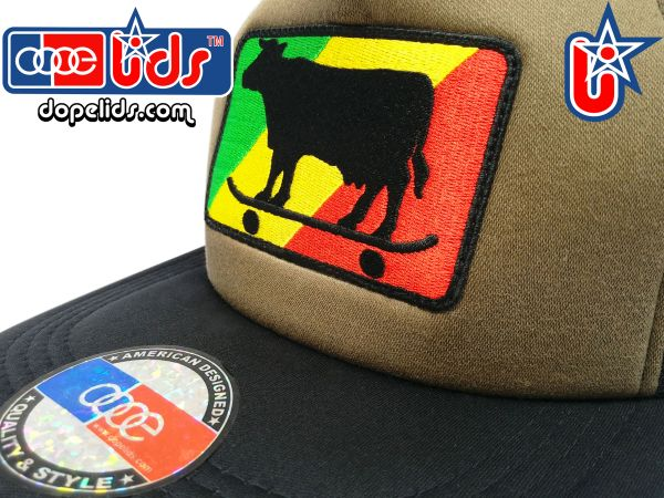 smart-patches Rasta Skater Cow Trucker Hat (OD Green)