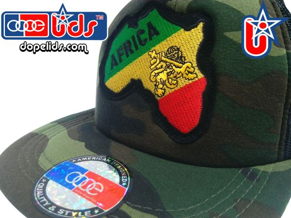 "smartpatches ""Africa Lion of Judah"" Rasta Vintage Style Trucker Hat (Camo)"