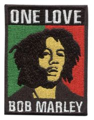 "Bob Marley ""One Love"" Rasta Patch 8cm x 6cm"