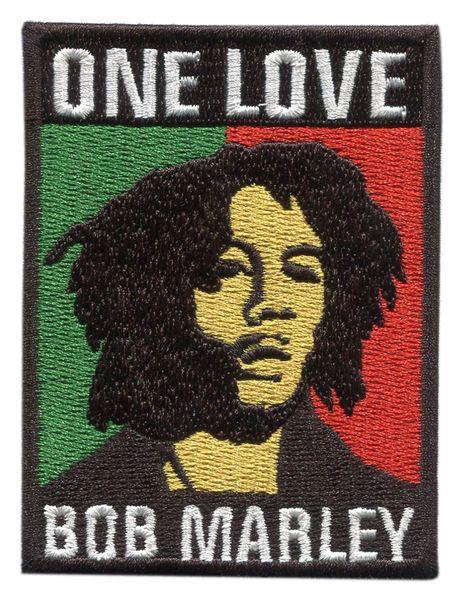 "Bob Marley ""One Love"" Rasta Patch 8cm x 6cm"