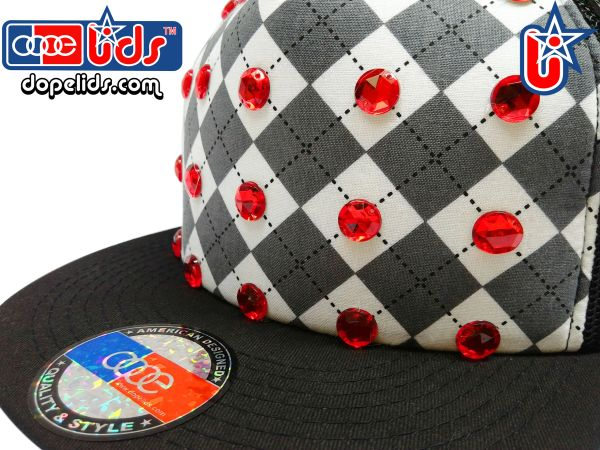 "smartpatches ""Argyle"" Red Rhinestone Bling Trucker Hat"