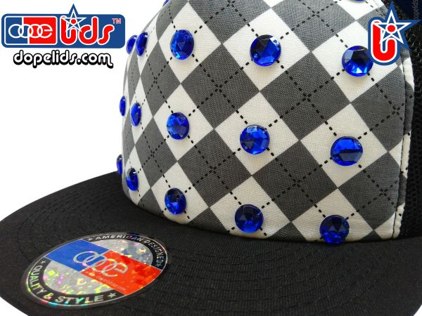 "smartpatches ""Argyle"" Blue Rhinestone Bling Trucker Hat"