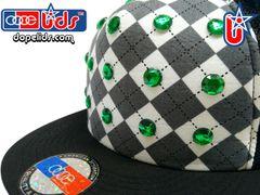 "smartpatches ""Argyle"" Green Rhinestone Bling Trucker Hat"