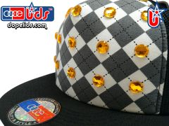 "smartpatches ""Argyle"" Yellow Rhinestone Bling Trucker Hat"