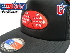 """smARTpatches Truckers """"Checkered Flag"""" Red Rhinestone Bling Trucker Hat by dopelids headwear"""