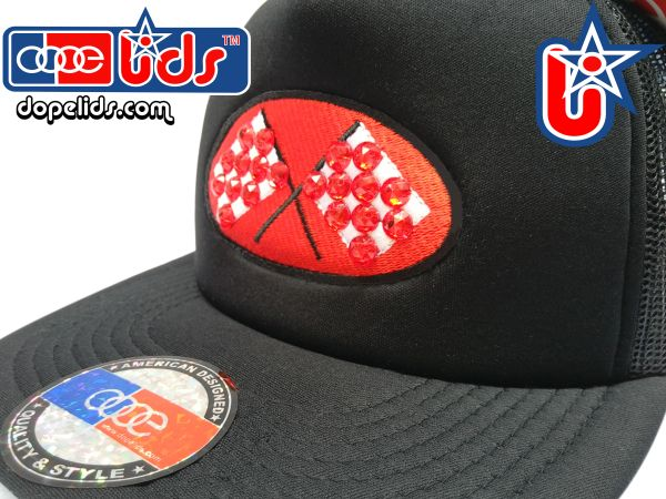 "smARTpatches Truckers ""Checkered Flag"" Red Rhinestone Bling Trucker Hat by dopelids headwear"