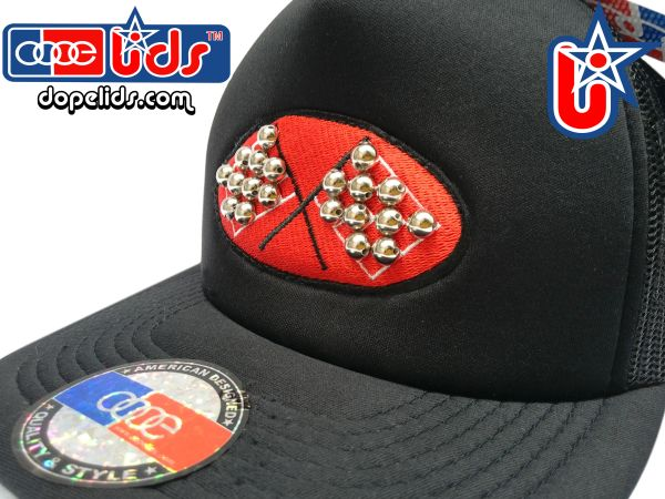 "smARTpatches Truckers ""Checkered Flag"" Steel Rhinestone Bling Trucker Hat by dopelids headwear"