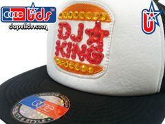 """smARTpatches Truckers """"DJ King"""" Rhinestone Bling Trucker Hat by dopelids headwear"""