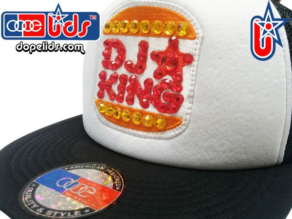 "smARTpatches Truckers ""DJ King"" Rhinestone Bling Trucker Hat by dopelids headwear"