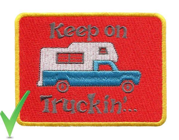 Keep on Truckin' Pickup Camper Vintage Style 70's Patch 10cm X 8cm