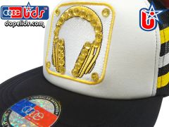 "smartpatches ""Hot Headphones"" Rhinestone Bling Trucker Hat"