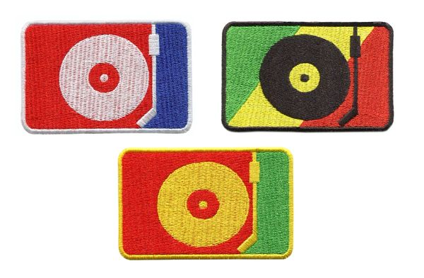 DJ Turntable Silhouette Hip Hop Rasta Patch 8cm x 5.5cm (3 Colors to Choose)