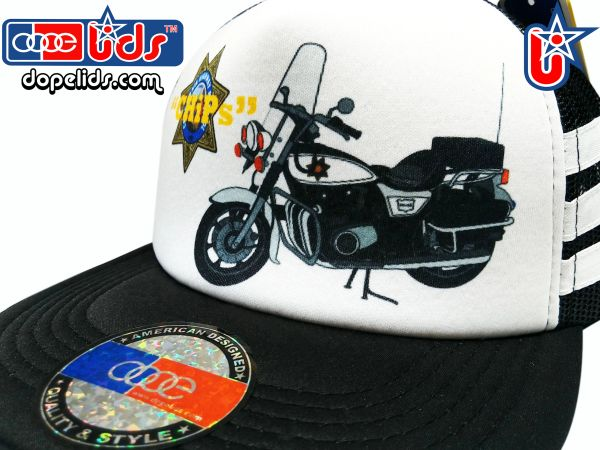 smARTpatches Truckers 79eighty Chips Police Motorcycle Vintage Style Trucker Hat