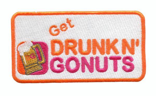 Get Drunk n' Gonuts Funny Parody Patch 12cm x 6.5cm