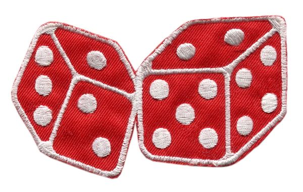 Red Dice Patch Vintage Style 10cm