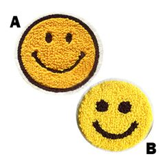 Smiley Face Vintage Style Chenille Smile Patch Badge 7cm
