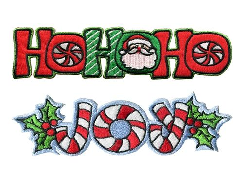 Christmas Patch Holiday Patches Badge Santa Ho Ho Ho Joy 15cm 13cm