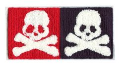Large Chenille Double Skull Patch (19cm x 10cm)