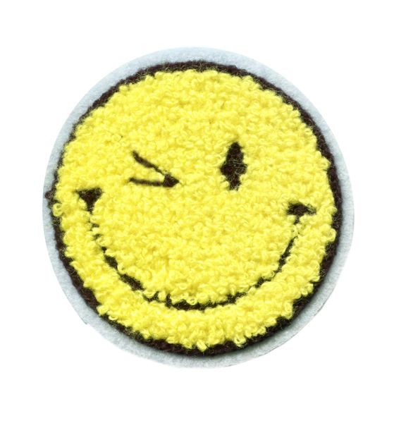 Chenille Smiley Face Wink Patch Smile Patch Badge 7.5cm
