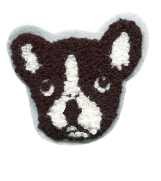 Boston Terrier Chenille Dog Patch (6cm)