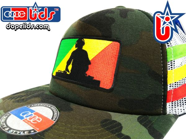 smARTpatches Truckers 89eighty Rasta DJ Camo Trucker Hat