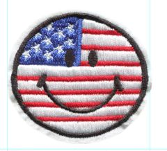 Smiley Face USA Patch Vintage Style Smile Patch Badge 6.5cm