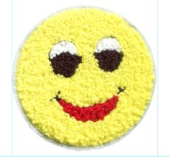 Smiley Face Patch Chenille Vintage Style Smile Patch Badge 9cm