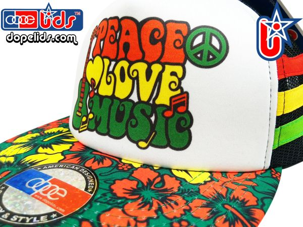 smARTpatches Truckers 79eighty Peace Love Music© Skater Surfer Trucker Rasta Hat