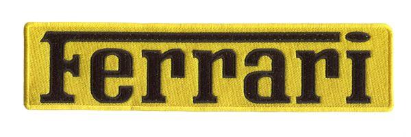 Ferrari XXL Script Patch Black on Yellow 25cm x 6cm