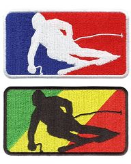 Skiing Ski Silhouette Patch 9.5cm x 5cm (3 Colors Available)