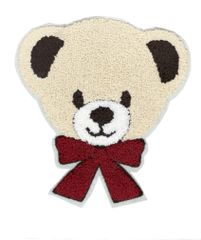Extra Large Chenille Teddy Bear Patch with Bow (17.5cm)