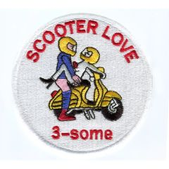 "Vintage Style ""Scooter Love 3-some"" Vespa Scooter Patch 9cm"